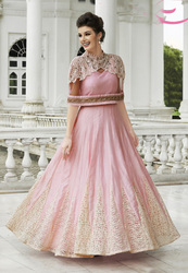PINK NET RAW SILK EMBROIDERED DESIGNER SUIT