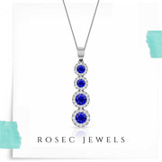 Circle Drop Halo Diamond Pendant,  White Gold Blue Sapphire Necklace,  C